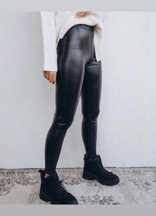 Женские лосины под кожу леггинсы экокожа леггинсы кожа черные