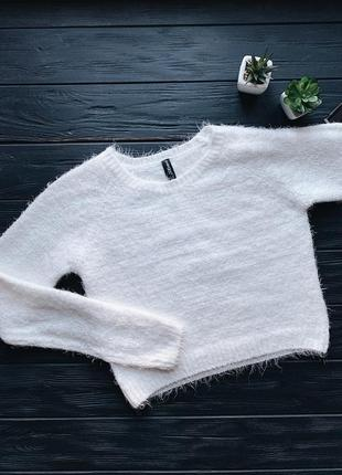 Кремовый мохеровый укороченый свитер