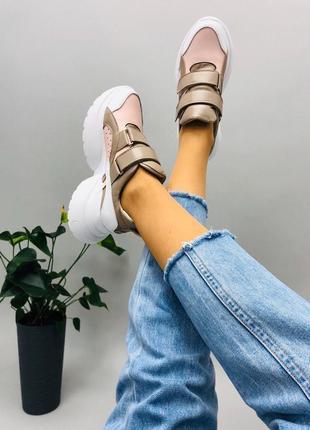 Lux обувь! натуральные кожаные женские кроссовки
