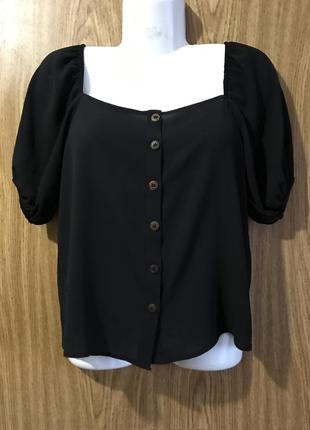 Select чёрная полупрозрачная блуза рубашка футболка майка на пуговках