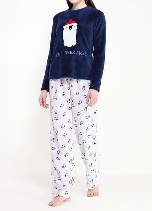 ... Теплая пижама с пингвинами. махровая домашняя одежда f16749890bf49