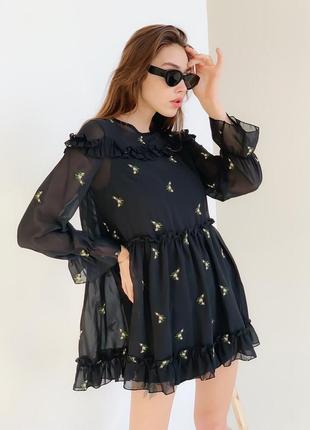 Шифонов платье,короткое мини платье шифон чёрное