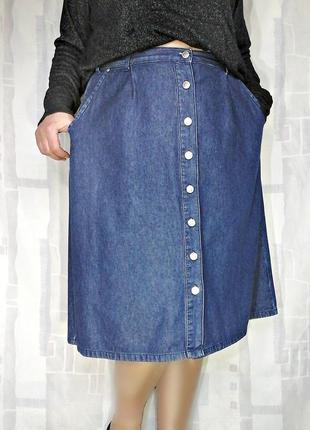 Джинсовая юбка на пуговицах, 100% хлопок
