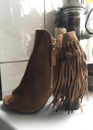 Ботильоны/ботинки zara с бахромой