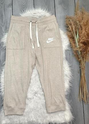Nike найк спортивные бриджи штаны оригинал бежевые l 12 40