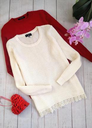 Фактурный свитер с кружевом originals knitwear.