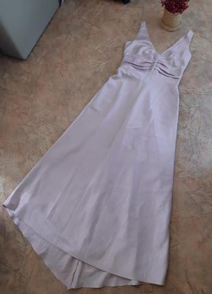 Атласное длинное платье нарядное, праздничное, выпускное, свадебное, шлейф next occasions