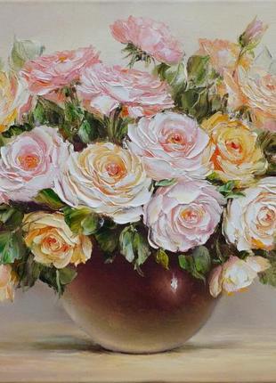 """Картина маслом """"букет рожевих троянд"""""""