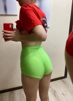 Яркие зелёные шорты для тверка / для танцев / для занятий спортом