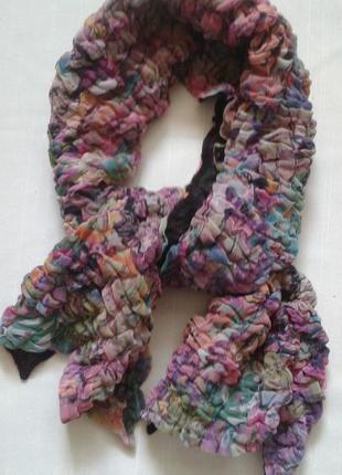 Легкий объемный шарф в пастельных тонах жатый+300 шарфов платков на странице