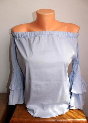 Трендова блузочка з опущеними плечами zebra xs
