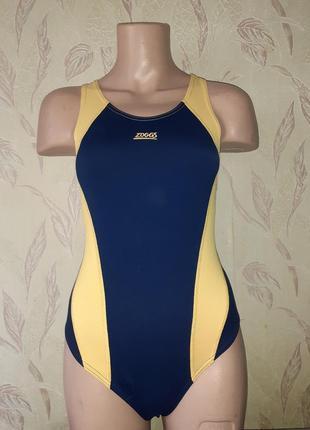 Спортивный купальник желтый с синим.