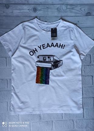 Хлопковая футболка с пайетками esmara