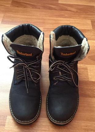 Крутые кожаные зимние ботинки timberland на шнурке натуральная кожа