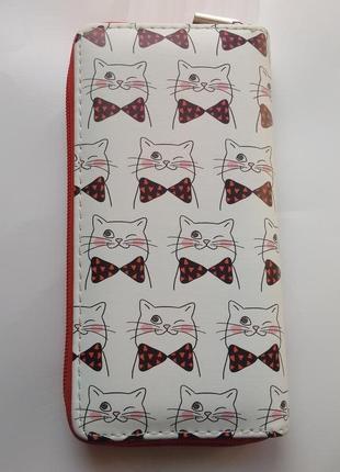Новый модный длинный большой кошелек на молнии с котами котиками котом