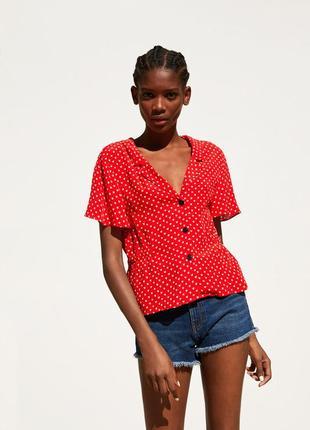 Рубашка блуза с коротким рукавом  zara