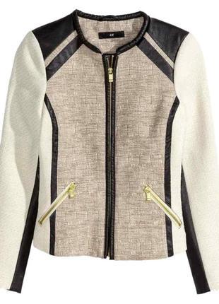 Фактурный твидовый жакет /пиджак р. xs, м h&m с кожаными вставками