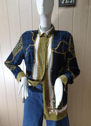 Винтажная рубашка блуза с платочным принтом