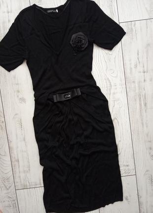 Шикарное платье чёрное базовое платье миди