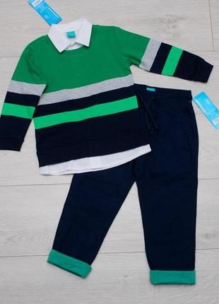 Костюм, комплект штаны джоггеры и джемпер демисезон. pepco. размер 134