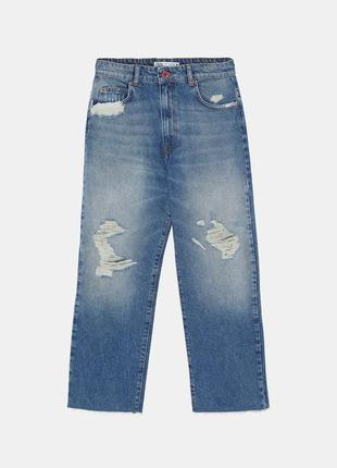 Укороченные джинсы прямого кроя, размеры 36,383 фото