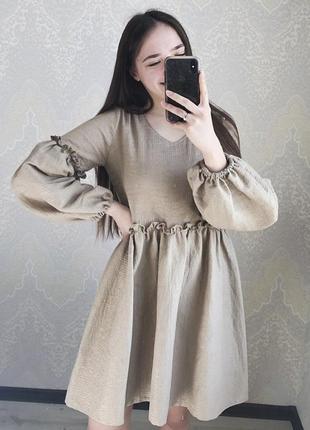 Льняное шёлковое платье