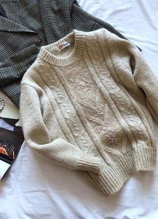 Мохеровый винтажный свитер с жемчугом рр м