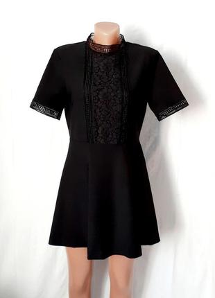 Черное мини платье с кружевом разм с-м zara