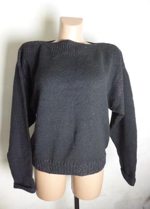 Теплый черный свитер вязаный кофта размер l - xl - xxl