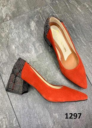 Трендовые женские туфли на квадратном каблуке лодочки острый нос