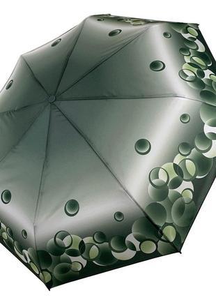 Женский механический складной зонт, зеленый, компактный размер.
