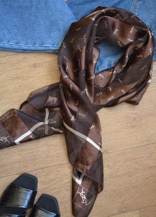 Ysl yves saint laurent шарф шаль палантин платок коричневый под шелковый шелк