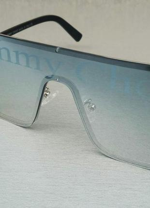 Jimmy choo очки маска женские солнцезащитные голубые с логотипом бренда