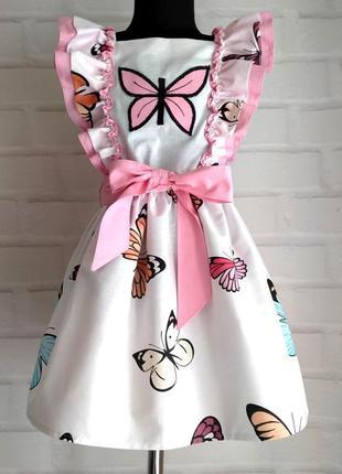 Детское платье с принтом бабочки и крылышками. детское платье на лето 110-140рр