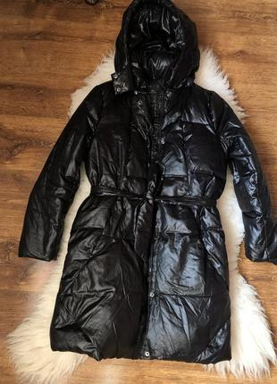 Пуховик пояс глянцевый ремень куртка пальто gap дутик балоновый