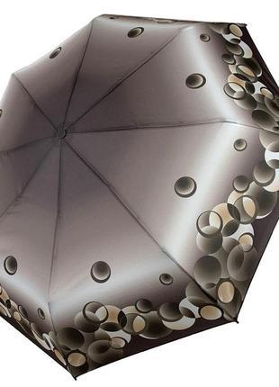 Женский механический складной зонт, оливковый, компактный размер.