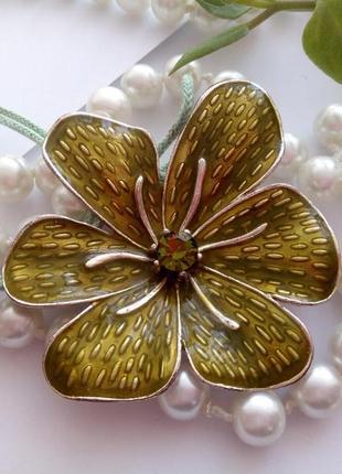 """Кулон hd """"орхидея"""" (серебро, горячая эмаль, кристалл) подвеска цветок"""