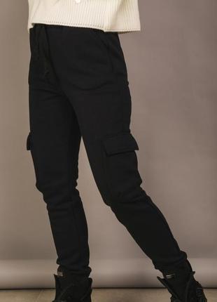 Спортивные штаны на флисе карман высокая посадка талия шнурок трендовые стильные модные