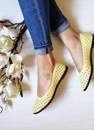 Балетки лодочки мокасины туфли туфельки желтые кожаные лимонные
