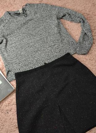 Черная фактурная юбка h&m