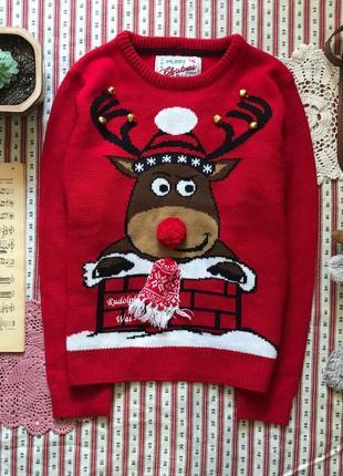 Новогодний свитер с оленем с тарахтелками rebel на 10-11 лет