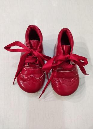 Kelsi красные лаковые демисезонные ботинки, 14 см стелька