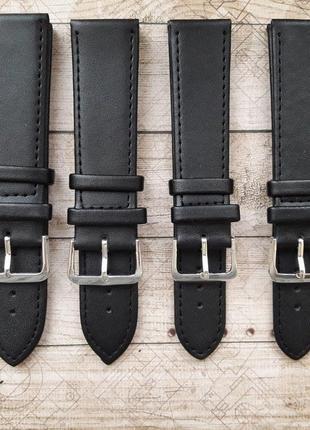 Черные ремешки для часов, кожа,18,20,22,24.