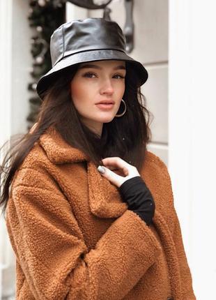 Эко кожаная панама панамка шляпа шапка черная качественная новая