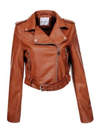 Стильна укорочена курточка, косуха, еко шкіра