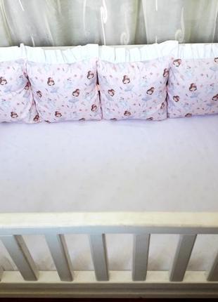 Бортики в детскую кроватку с балеринами
