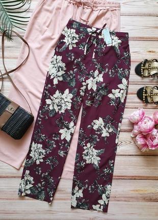 Крутые летние брюки штаны с цветами и карманами
