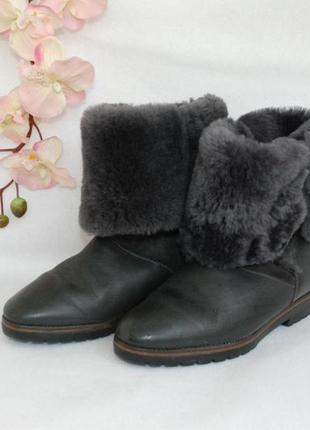 Кожаные итальянские зимние полусапожки, ботинки стелька 24 см