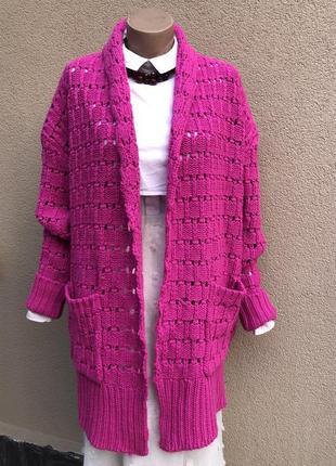 Розовый,малиновый,вязаный,ажурный кардиган,кофта,шерсть,