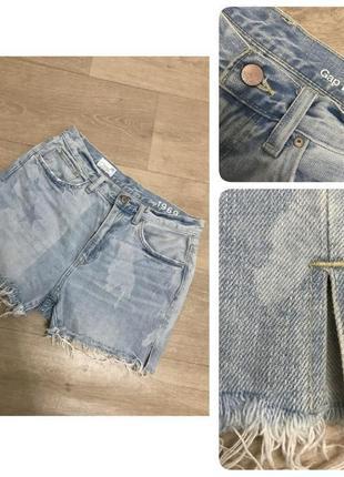 Бомбезные джинсовые шорты gap, р.28 высокая посадка